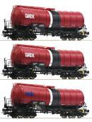 Модель 3-х вагонного сета 4-х осных цистерн GATX.Пр-во ROCO.Арт.76088.Масштаб НО (1:87).