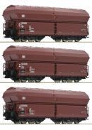 Модель 3-х вагонного сета закрытых саморазгружающихся вагонов-хопперов.Пр-во ROCO.Арт.76079.Масштаб НО (1:87).