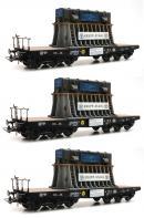 Модель 3-х вагонного сета 6-ти осных платформ с грузом.Пр-во ROCO.Арт.76157.Масштаб НО (1:87).