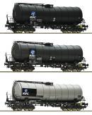Модель 3-х вагонного сета 4-х осных цистерн.Пр-во ROCO Арт.76156.Масштаб НО (1:87).