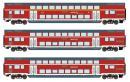 Для предзаказов!Модель 3-х вагонного сета 2-х этажных пассажирских 4-х осных вагонов 1-го/2-го класса.Пр-во ROCO.Арт.74137.Масштаб НО (1:87).