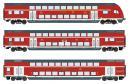 Для предзаказов!Модель 3-х вагонного сета 2-х этажных пассажирских 4-х осных вагонов 1-го/2-го класса.Пр-во ROCO.Арт.74150.Масштаб НО (1:87).
