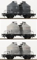 Для предзаказов!Модель 3-х вагонного сета 2-х осных силосных вагонов.Пр-во ROCO Арт.76093.Масштаб НО (1:87).