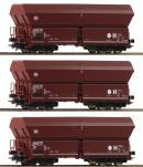 Модель 3-х вагонного сета открытых хопперов-саморазгрузов.Пр-во ROCO.Арт.67082.Масштаб НО (1:87).