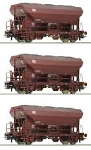 Модель 3-х вагонного сета открытых хопперов-саморазгрузов с углем.Пр-во ROCO.Арт.76170.Масштаб НО (1:87).
