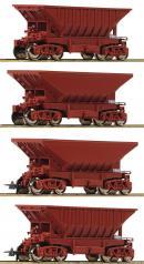 Модель 4-х вагонного сета открытых хопперов для руды.Пр-во ROCO.Арт.67084.Масштаб НО (1:87).
