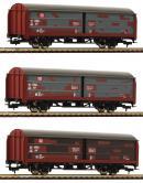 Модель 3-х вагонного сета крытых вагонов со сдвижными стенками.Пр-во FLEISCHMANN.Арт.533709.Масштаб НО (1:87).