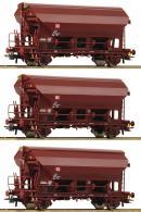 Модель 3-х вагонного сета закрытых хопперов-саморазгрузов.Пр-во ROCO.Арт.76575.Масштаб НО (1:87).