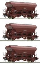 Модель 3-х вагонного сета открытых хопперов-саморазгрузов с углем.Пр-во ROCO.Арт.76171.Масштаб НО (1:87).