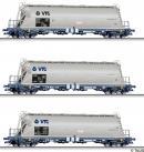 Для предзаказов!Модель 3-х вагонного сета 4-х осных силосных грузовых вагонов.Пр-во TILLIG.Арт.01820.Масштаб ТТ (1:120).
