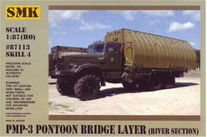 Для предзаказов!Модель КрАЗ 256 понтонный мост PMP-3,речная секция (для самостоятельной сборки).Пр-во SMK-Z@Z.Арт.87113.Масштаб 1:87 (НО).