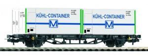 Модель 2-х осной платформы с контейнерами Kühlcontainer.Пр-во PIKO.Арт.57796.Масштаб НО (1:87).