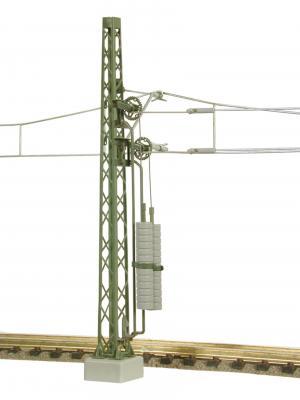 Опора контактной сети с утяжелителями натягивающими контактную сеть.Пр-во фирмы VIESSMANN.Арт.4364.Масштаб N (1:160).