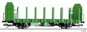 Новинка 2019!Модель 2-х осной платформы для перевозки леса (программа START).Пр-во TILLIG.Арт.14600.Масштаб ТТ (1:120).