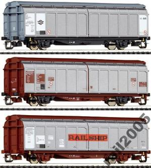 Сет 3-х вагонов с раздвижными стенками.Пр-во ROCO.Арт.37556.Масштаб ТТ (1:120).