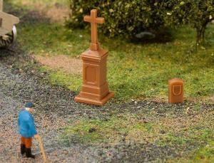 Модель придорожного креста и надгробной плиты.Пр-во FALLER.Арт.180911.Масштаб НО (1:87).