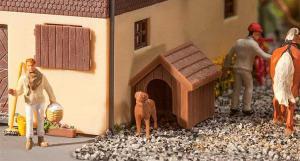 Модель будки для пса и сам пес.Пр-во FALLER.Арт.180939.Масштаб НО (1:87).