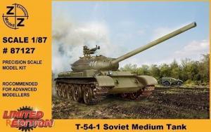 Для предзаказов!!!Модель танка T-54-1 Soviet Medium Tank-для самостоятельной сборки.Пр-во Z@Z.Арт.87127.Масштаб 1:87 (НО).
