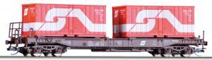 Модель 4-х осной платформы с 2-мя 20-футовыми контейнерами ÖBB.Пр-во TILLIG.Арт.18153.Масштаб ТТ (1:120).