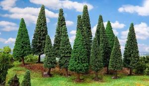 Новинка 2019!Модели 15-ти деревьев елей высоких,отсортированных.Пр-во FALLER.Арт.181542.Масштабы НО-ТТ (1:87-1:120).