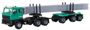 Модель седельного тягача DAF 3-х осного,с прицепом 2-х осным для перевозки бетонных блоков,леса и т.п..грузов компании SchwarzBau.Пр-ва KIBRI.Арт.15209.Масштаб НО (1:87).