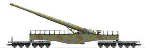 Новинка 2019!Модель 12-ти осной ж.д.платформы,с ж.д. орудием Leopold K5 (цвет камуфляж серо-зелено-коричневый).Пр-во RIVAROSSI.Арт.HR6451.Масштаб НО (1:87).