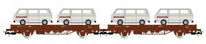 Новинка осени 2019!Модель 2-х вагонов-платформ 2-х осных,с 4-мя моделям микроавтобусов VW T2.Пр-во RIVAROSSI.Арт.HR6458.Масштаб НО (1:87).