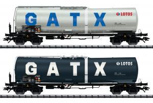 """Новинка 2020!Модель 2-х вагонного сета вагонов цистерн """"GATX"""".Пр-во ТRIX.Арт.24213.Масштаб НО (1:87)."""