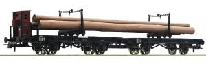 Модель 2-х вагонного сета 2-х осных вагонов-платформ с грузом леса.Пр-во ROCO Арт.76405.Масштаб НО (1:87).
