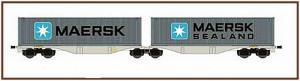 Модель сета 2-х вагонов платформ с одной общей осью и 2-мя контейнерами Gelenk-Containertragwagen Typ Sggrss 80`der AAE,mit 2 Containern (MAERSK),.Пр-во A.C.M.E.Арт.40362.Масштаб НО (1:87).