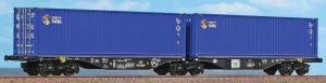Модель 4-х осных вагонов-платформ с одной общей осью,для перевозки контейнеров.Пр-во A.C.M.E.Арт.40358.Масштаб НО (1:87).