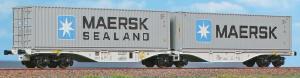 Модель 4-х осных вагонов-платформ с одной общей осью,для перевозки контейнеров.Пр-во A.C.M.E.Арт.40362.Масштаб НО (1:87).