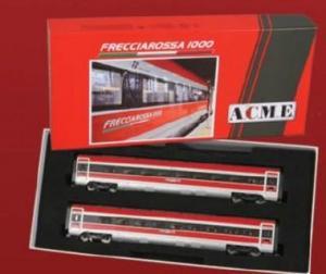Для предзаказов!!!Модель 2-х вагоннного сета (вагоны №4 и №6),для увеличения состава скоростного поезда ETR 400 Frecciarossa 1000 of the Trenitalia / FS.Пр-во A.C.M.E.Арт.70202.Масштаб НО (1:87).