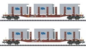 Новинка 2020-2021!!!Модель 2-х вагонного сета платформ с грузами.Пр-во TRIX.Арт.24141.Масштаб НО (1:87).