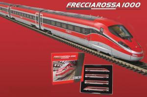Для предзаказов!!!Модель 4-х вагоннного состава скоростного поезда ETR 400 Frecciarossa 1000 of the Trenitalia / FS в варианте с декодером(не звуковым).Пр-во A.C.M.E.Арт.70201D.Масштаб НО (1:87).