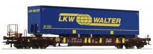 Модель 4-х осной платформы типа T3 с 3-х осным грузовым прицепом.Пр-во ROCO.Арт.76221.Масштаб НО (1:87).