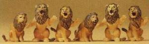 Сет сидящие львы в зоопарке,цирке.Фирма PREISER 20381.Масштаб НО (1:87).