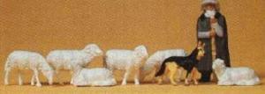Сет фигурок овцы с пастухом и собакой.Фирма PREISER.Арт.14160.Масштаб НО (1:87).