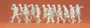 Сет с 12-тью фигурками гренадеров с MG на марше (некрашенных).Фирма PREISER 16557.Масштаб НО (1:87).