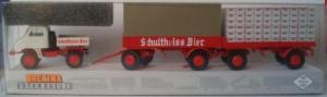 Модель грузовика Unimog 411,с 2-мя пивными прицепами.Фирма BREKINA.Арт.39112.Масштаб НО (1:87).