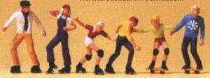 Сет фигурок на роликах и скейтах в экипировке.Фирма PREISER.Арт.10074.Масштаб НО (1:87).