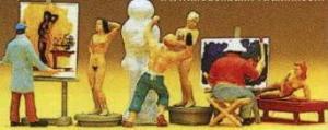 Сет художник,скульптор,модели натурщицы и аксессуары.Фирма PREISER.Арт.10106.Масштаб НО (1:87).