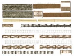 Модель серии Großpackung-различные заборы,столбы,стены и ворота.Фирма BUSCH.Арт.6017.Масштаб НО (1:87).