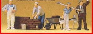 Сет рабочих строителей.Фирма PREISER 10251.Масштаб НО (1:87).