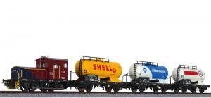Маневровый тепловоз  V 14.03 с 3-мя вагонами-цистернами.Пр-во LILIPUT.Art.230119.Масштаб НО (1:87).