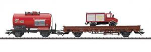 Модель 2-х вагонного пожарного сета цистерны и платформы.Пр-во ТRIX.Арт.24505.Масштаб НО (1:87).