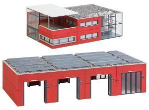 Модель большой пожарной части с гаражами и офисом.Пр-во FALLER.Арт.130160.Масштаб НО (1:87).