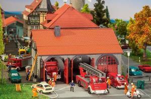 Модель небольшой пожарной части с гаражами.Пр-во FALLER.Арт.130162.Масштаб НО (1:87).