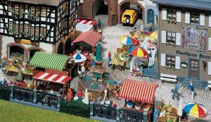Модель-набор аксессуаров для небольшого городского рынка.Пр-во FALLER.Арт.180582.Масштаб НО (1:87).