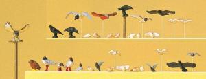 Сет модель фигурок птиц-голуби,совы,ястребы и др..Пр-во PREISER.Арт.10169.Масштаб HO (1:87).